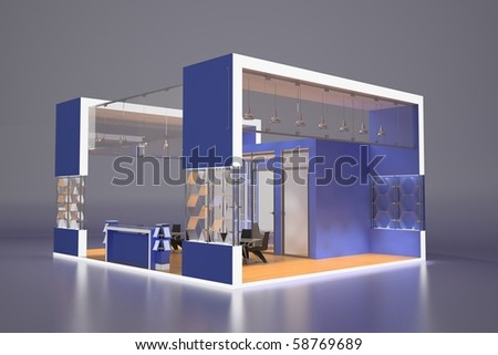 3d render of blue exhibition stand - stock photo