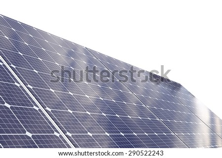 3d render of   blue photovoltaic solar panels power plant using solar energy - stock photo