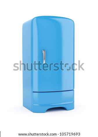3d render of blue refrigerator, isolated on white background - stock photo
