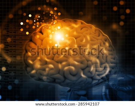 3d render of Brain functions, synapses - stock photo