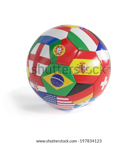 3d render of Brazil football soccerball with countries flags - stock photo