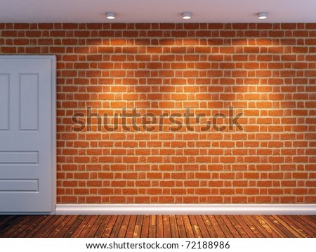 3d render of brick wall lit by three spot lights - stock photo