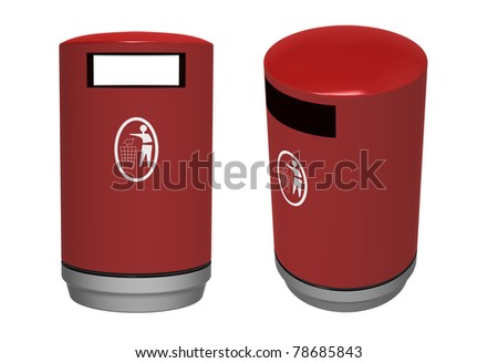 3d render of  bucket for dust  on a white background - stock photo