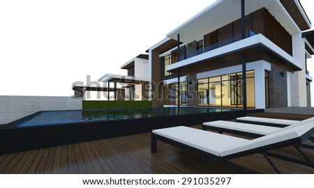 3D render of building isolated on white background with clipping path. Night perspective of modern house with lighting effect. - stock photo