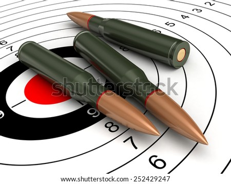 3d render of bullets on target background - stock photo