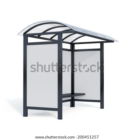 3d render of bus stop billboard with shadow isolated on white background - stock photo