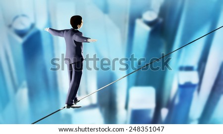 3d render of businessman walking on a tightrope above the city - stock photo