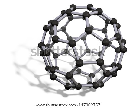 3d render of C60 carbon fullerene with soft shadow isolated on white - stock photo