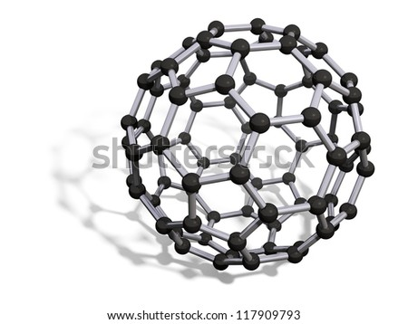 3d render of C80 carbon fullerene with soft shadow isolated on white - stock photo