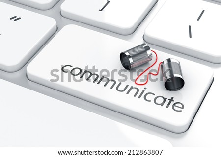 3d render of can phone on the keyboard. Communication concept - stock photo