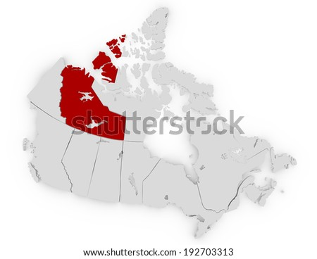 3d Render of Canada Highlighting Northwest Territories - stock photo