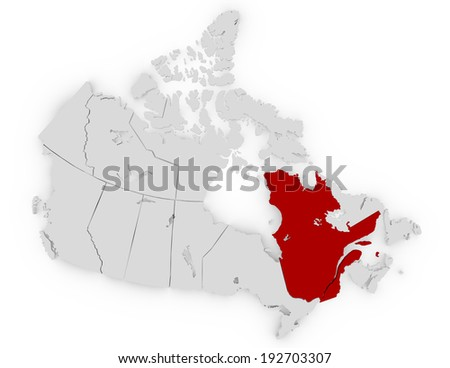 3d Render of Canada Highlighting Quebec - stock photo