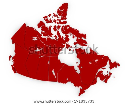 3d Render of Canada Separated in Provinces - stock photo