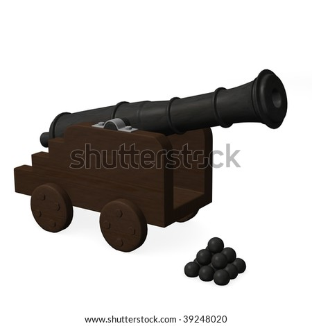 3d render of cannon weapon - stock photo