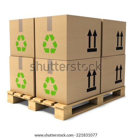 3d render of cardboard boxes stacked on wooden pallet - stock photo