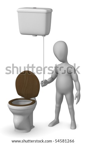 3d render of cartoon characer with old toilet - stock photo