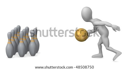 3d render of cartoon character and bowling - stock photo
