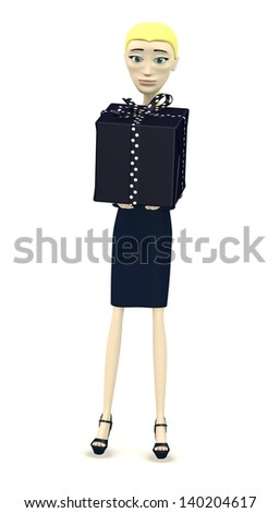 3d render of cartoon character giving a gift - stock photo
