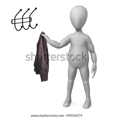 3d render of cartoon character with coat and rack - stock photo
