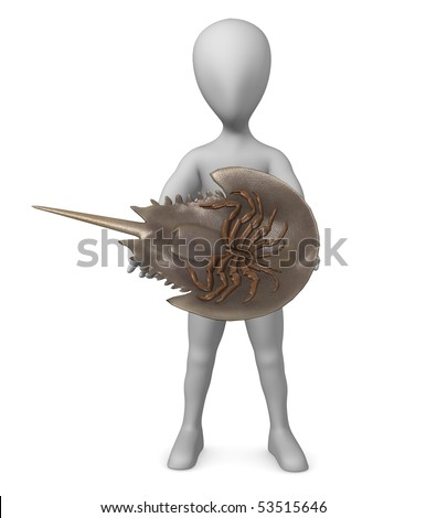 3d render of cartoon character with limulus animal - stock photo