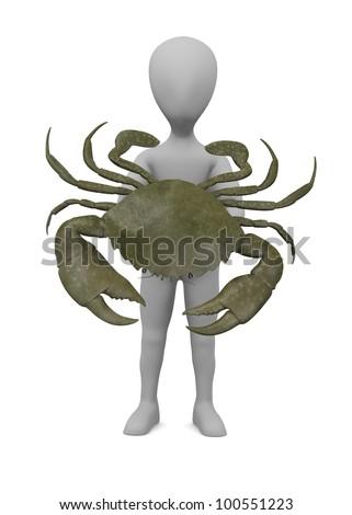 3d render of cartoon character with scylla serrata - stock photo