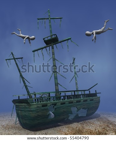 3d render of cartoon character with shipwreck - stock photo