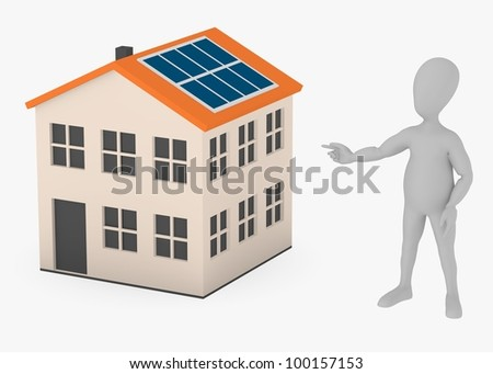 3d render of cartoon character with solar house - stock photo