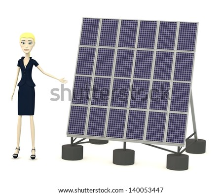 3d render of cartoon character with solar panel - stock photo
