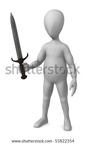 3d render of cartoon character with sword - stock photo