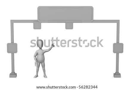 3d render of cartoon character with traffic sign - stock photo