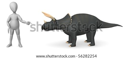 3d render of cartoon character with triceratops - stock photo
