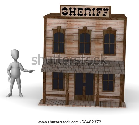 3d render of cartoon character with western house - stock photo