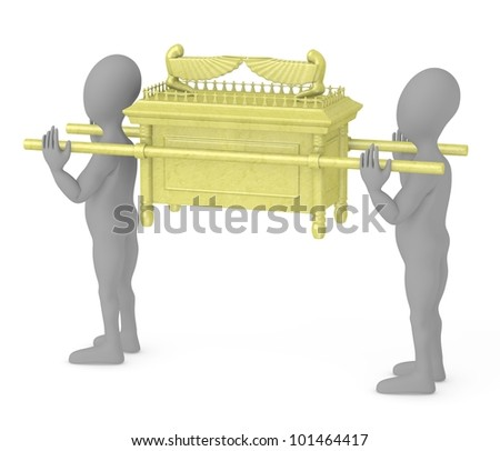 3d render of cartoon characters with ark of the covenant - stock photo
