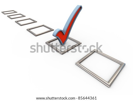 3d render of check list with one check mark - stock photo