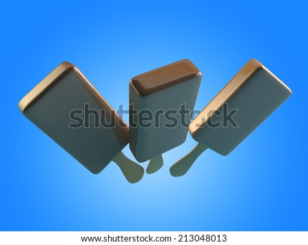 3D render of chocolate ice cream on light blue background. - stock photo