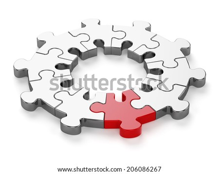 3d render of chrome jigsaw with red one isolated on white background - stock photo