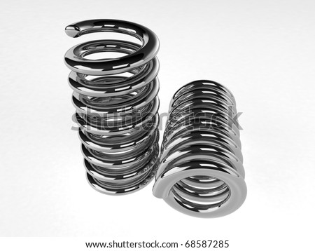 3d render of chrome springs on white - stock photo