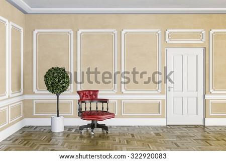3d render of classic interior with wooden floor - stock photo