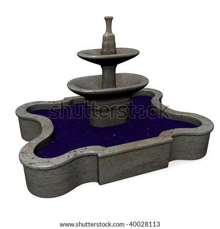 3d render of classical fountain - stock photo