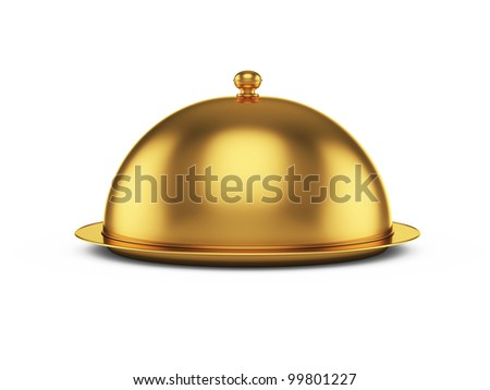 3d render of closed godlen cloche, isolated on white background - stock photo