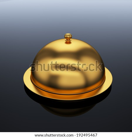 3d render of closed godlen cloche, on grey background  - stock photo