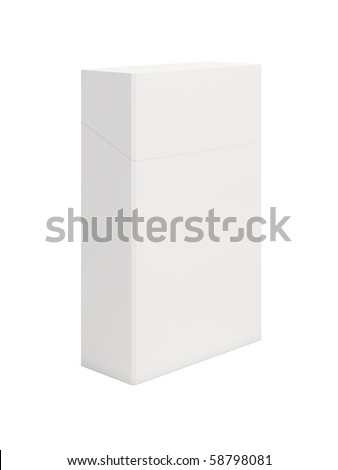3d render of closed white cigarettes pack on white background - stock photo