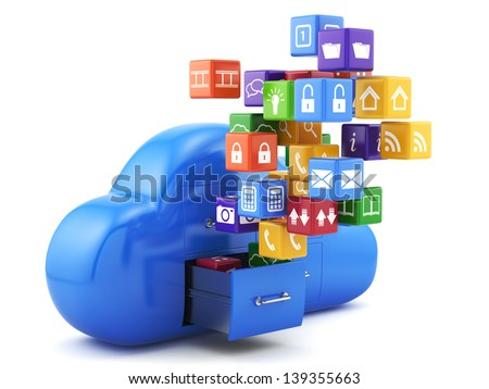 3d render of cloud storage concept. Isolated on white background - stock photo