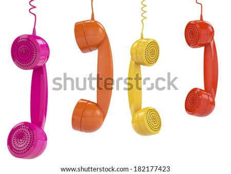 3d render of colered phone receiver hanging - stock photo