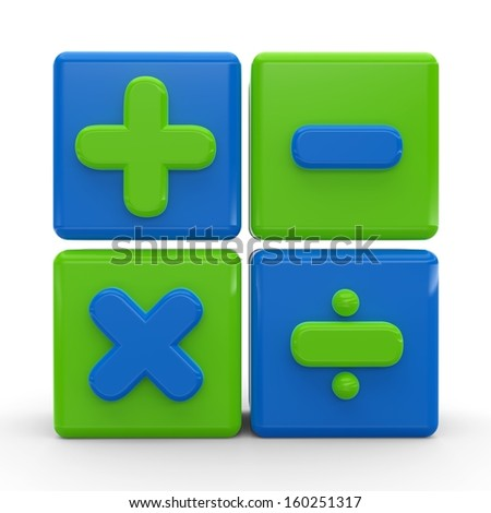 3d render of colorful cubes of math operations signs. - stock photo