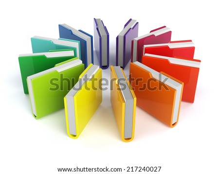 3d render of colorful folders set isolated on white background - stock photo