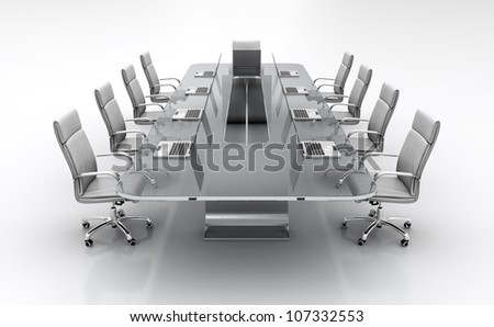 3D render of conference table from glass with white leather chairs. - stock photo