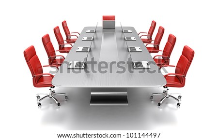 3D render of conference table with red leather chairs. - stock photo