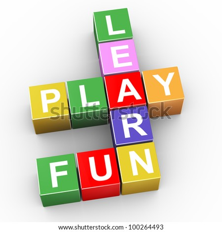 3d render of crossword of learn, play and fun - stock photo