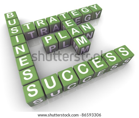 3d render of crossword of successful business planning - stock photo